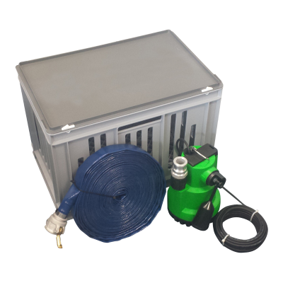Flood kit containing pump and hose